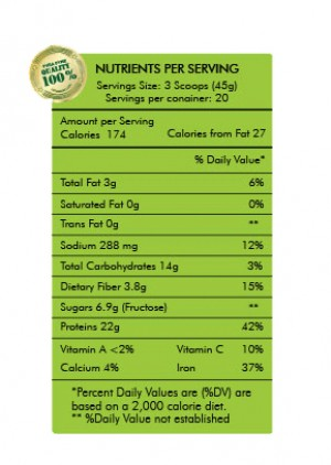 Nutritional Facts for Raw Liyf Vegan Protein